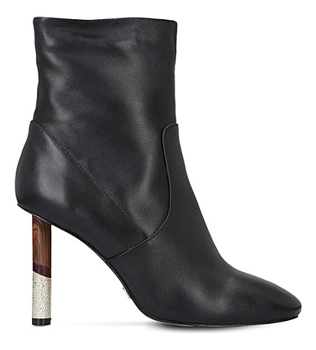 KG KURT GEIGER Raven contrast-heel leather boots (Black
