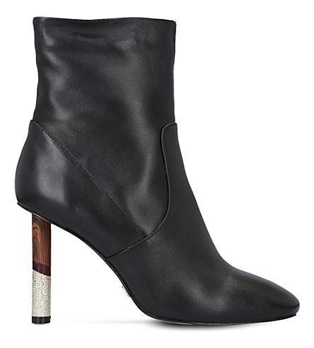 KG KURT GEIGER 乌鸦对比脚跟皮革靴子 (黑色