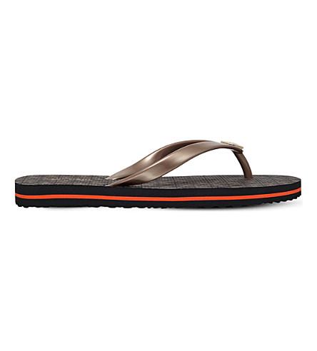 MICHAEL MICHAEL KORS Stripe flip flops (Dk.brn+com