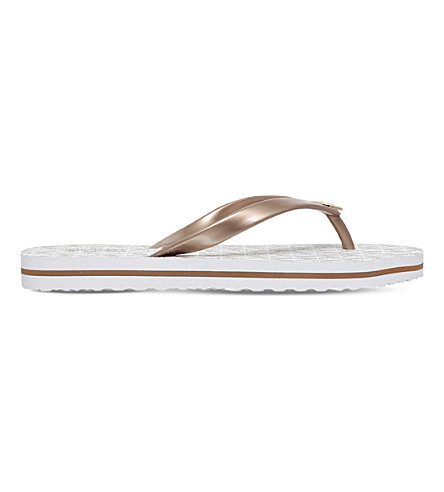 MICHAEL MICHAEL KORS Stripe flip flops (Cream+comb