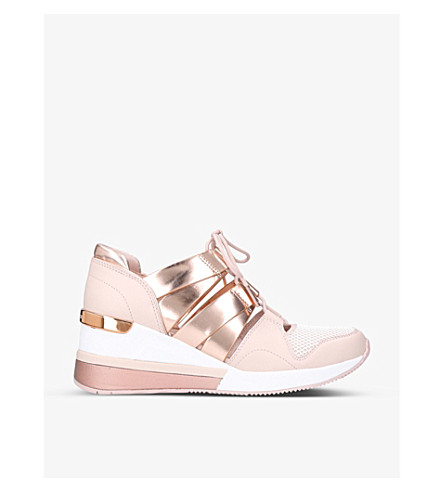 MICHAEL MICHAEL KORS Beckett leather and mesh trainers (Pale+pink
