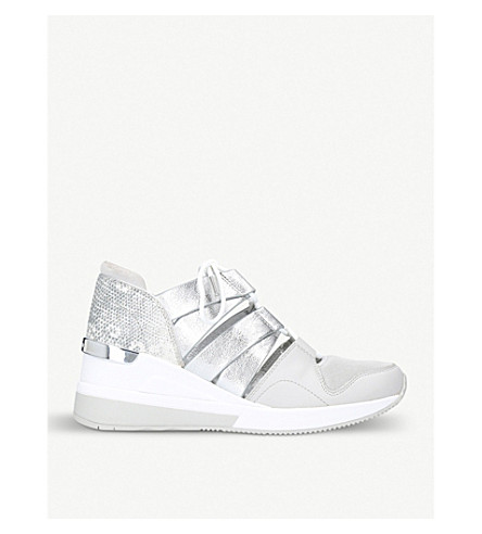 MICHAEL MICHAEL KORS Beckett metallic-leather and mesh trainers (Silver+com
