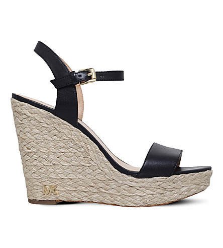 MICHAEL MICHAEL KORS Jill leather wedge sandals (Black