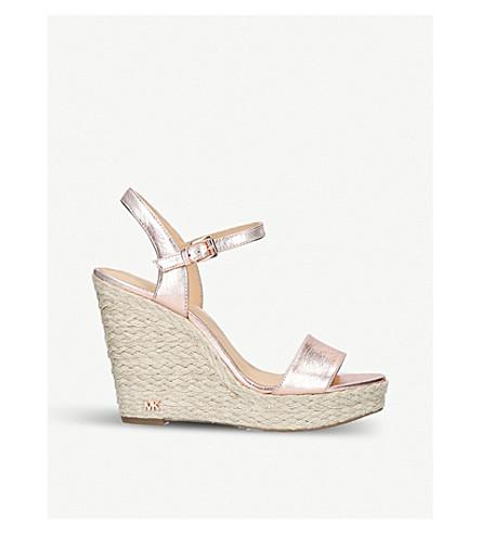 MICHAEL MICHAEL KORS Jill metallic-leather wedge sandals (Pale+pink