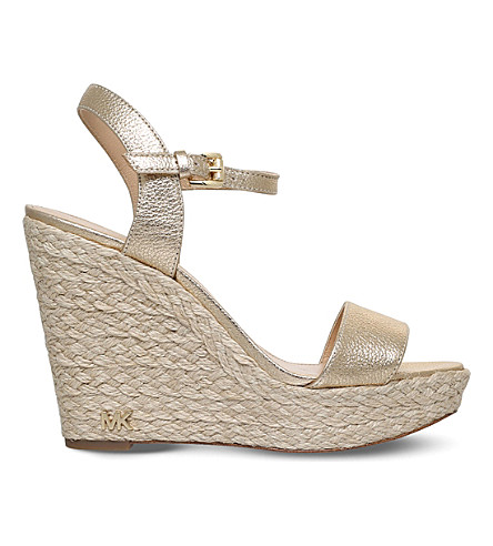MICHAEL MICHAEL KORS Jill platform wedge leather sandals (Gold