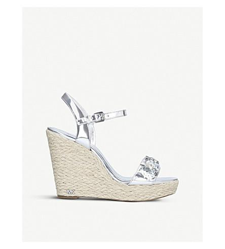 MICHAEL MICHAEL KORS Jill metallic-leather wedge sandals (Silver