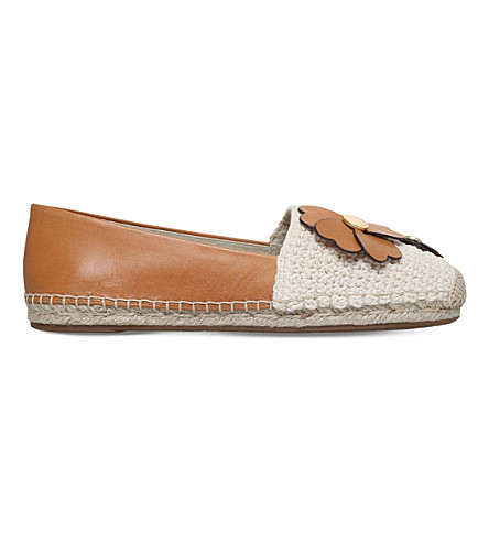 MICHAEL MICHAEL KORS Kit macramé and leather espadrilles (Tan+comb