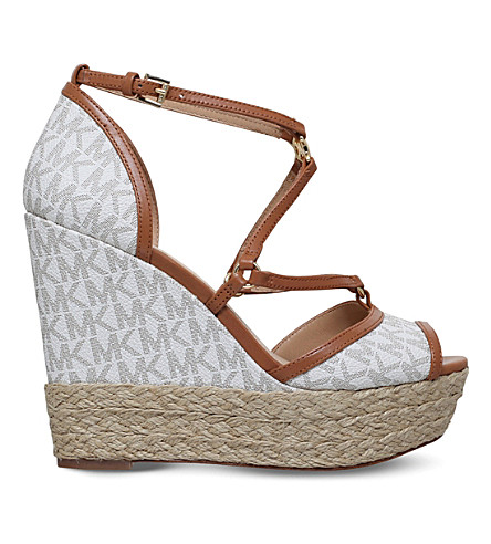 MICHAEL MICHAEL KORS Terri platform wedge sandals (Cream+comb