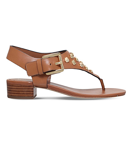 MICHAEL MICHAEL KORS Valencia leather thong sandals (Tan