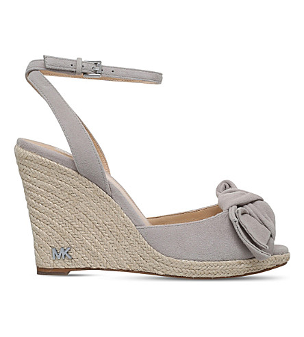 MICHAEL MICHAEL KORS Willa suede wedge espadrilles (Grey+mid