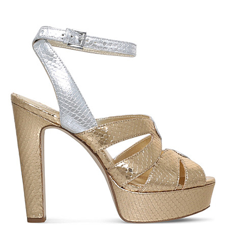 MICHAEL MICHAEL KORS Winona snakeskin-embossed metallic leather sandals (Gold