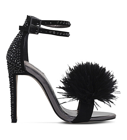 CARVELA Glenn fluffy faux-suede sandals (Black