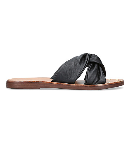 CARVELA Kreek twisted leather slides (Black
