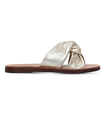 CARVELA Kreek twisted leather sliders (Gold