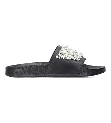 CARVELA Kirsty leather embellished sliders (Black
