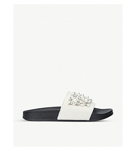 CARVELA Kirsty leather embellished sliders (White