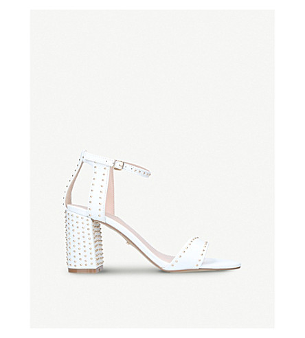 CARVELA Gogo leather block heel sandals (White