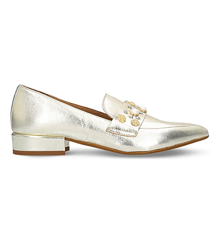 CARVELA Lily leather embellished loafers (Gold