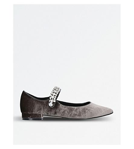 KG KURT GEIGER Kingly velvet ballerina shoes (Grey