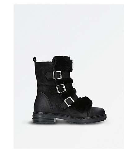 KG KURT GEIGER Sink suede and faux-fur boots (Black