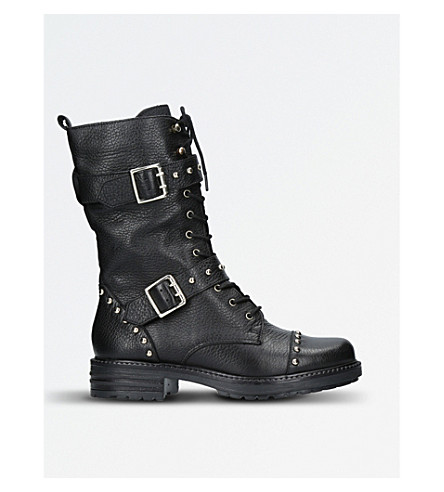 KG KURT GEIGER Sting Leather Lace-up Biker Boots (Blk/other