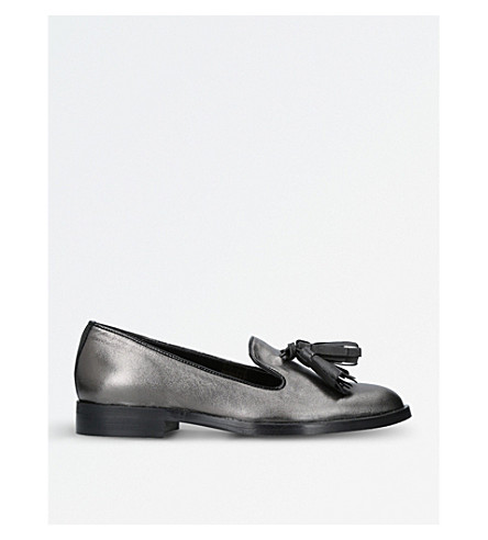 CARVELA Livia metallic-leather loafers (Gunmetal