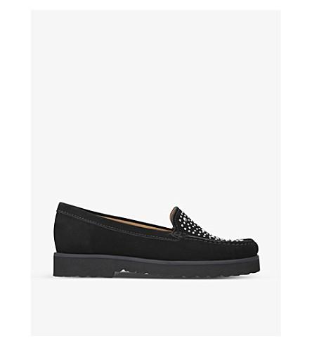 CARVELA COMFORT Camille embellished suede loafers (Black