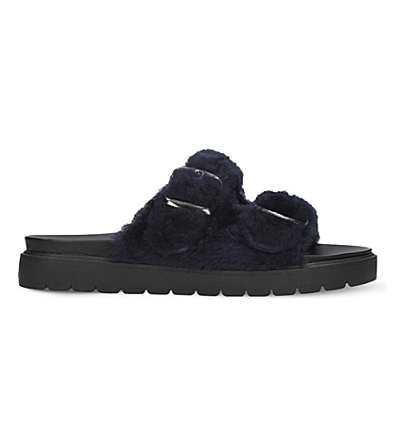 CARVELA Krumble buckled faux-fur sandals (Blue
