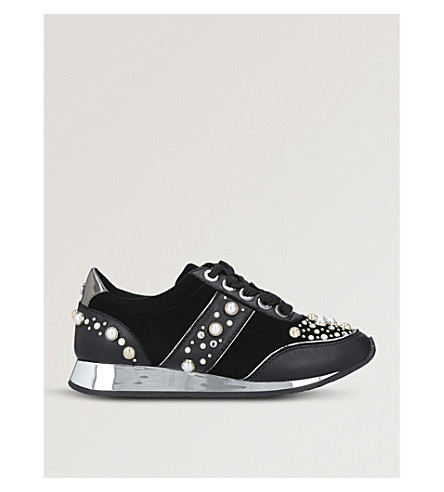 CARVELA Longer embellished suede trainers (Black