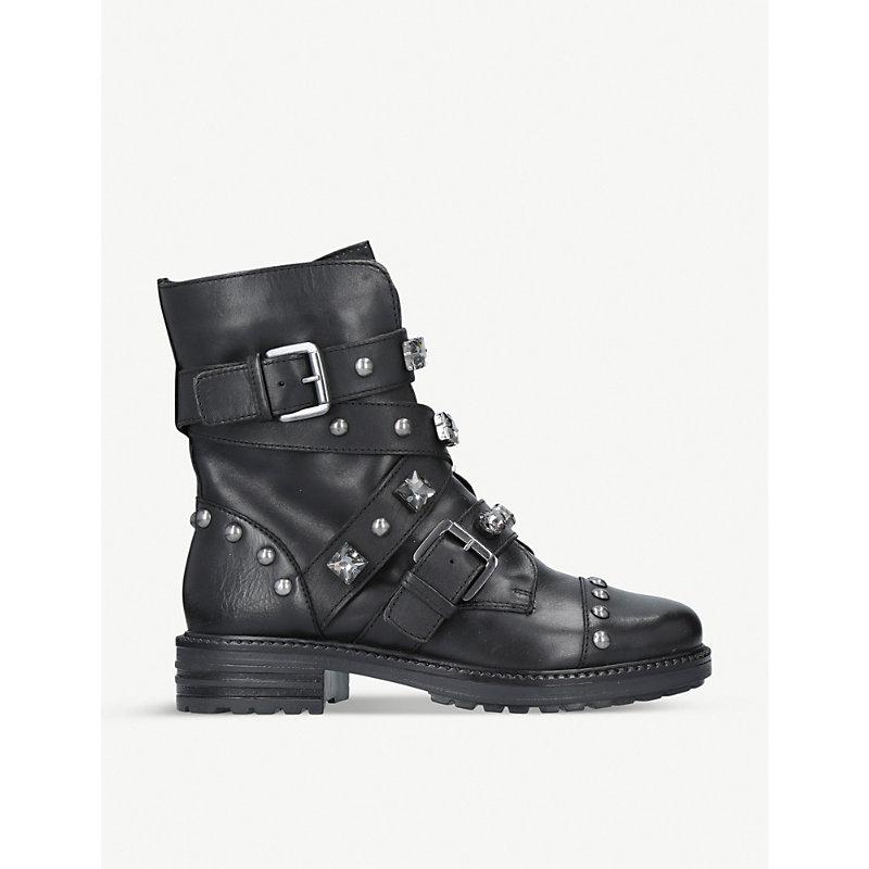 CARVELA | Sander Leather Stud Embellished Boots | Goxip