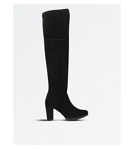 CARVELA COMFORT 瓦伦西亚麂皮绒过膝靴 (黑色
