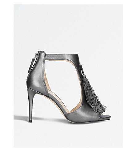 NINE WEST Richard metallic leather tassel sandals (Pewter