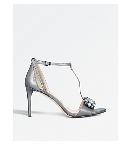 NINE WEST Rumsey t-bar embellished sandals (Pewter