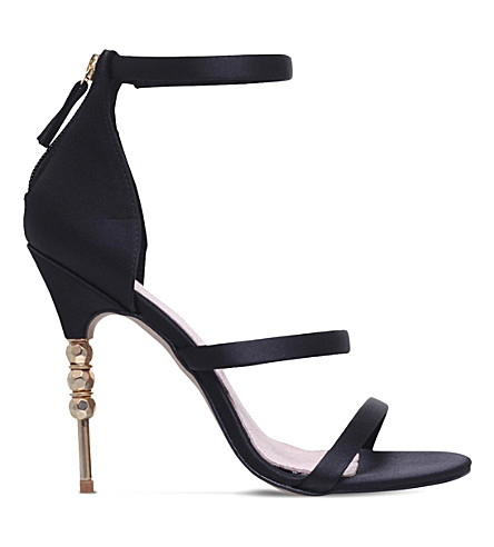 KG KURT GEIGER Jazz embellished-heel satin sandals (Black