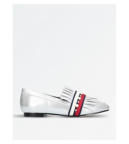 KG KURT GEIGER Keek embellished-detail flat loafers (Silver