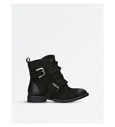 MISS KG Spice ruffle-detail leather boots (Black