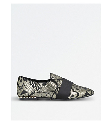 CARVELA Lounge patterned fabric loafers (Gold+comb