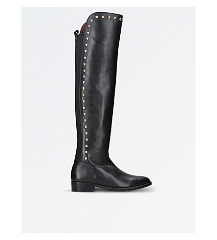 KG KURT GEIGER Volt Leather Stud Knee High Boots (Black