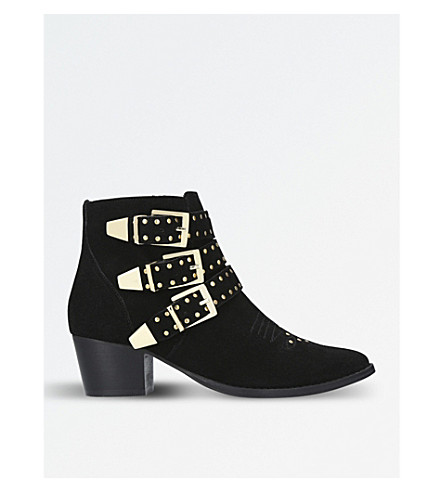 MISS KG Tiger suede studded ankle boots (Black