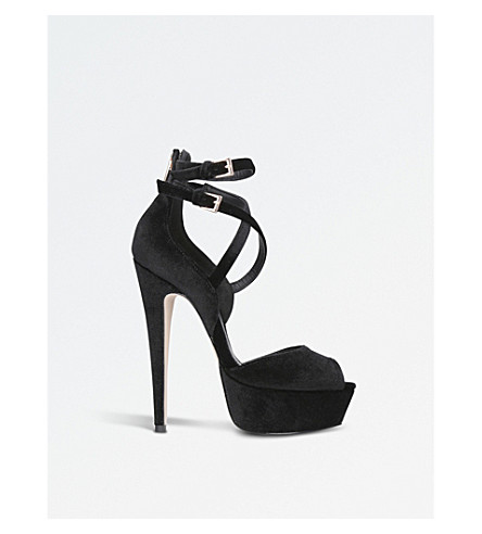 MISS KG Foxy velvet heeled sandals (Black
