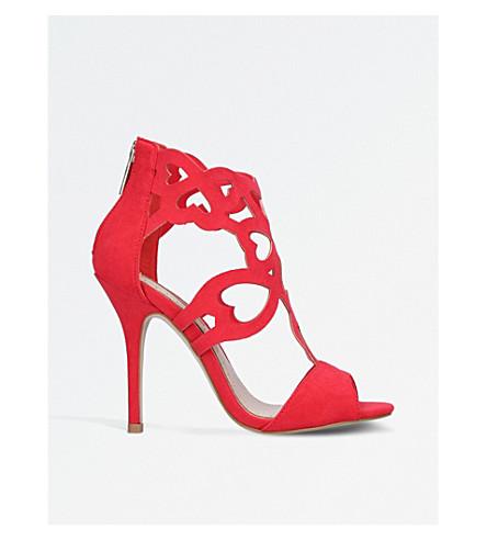 MISS KG Florence lattice suedette sandals (Red