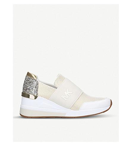 MICHAEL MICHAEL KORS Felix glittered-heel mesh trainers (White/oth