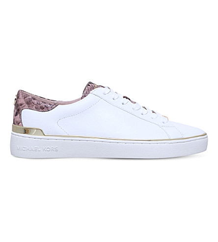 MICHAEL MICHAEL KORS Kyle snake-embossed leather trainers (White/blk