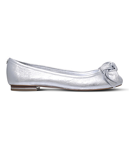 MICHAEL MICHAEL KORS Willa metallic leather ballet flats (Silver