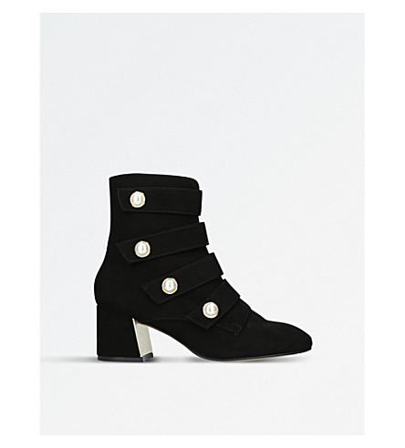 CARVELA Spandau 军事启发的绒面革踝靴 (黑色