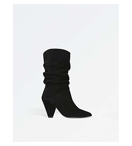 CARVELA Scrunch suede boots (Black