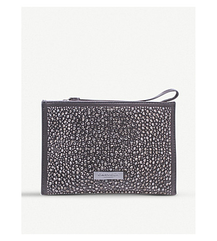 CARVELA Genna embellished satin pouch (Grey
