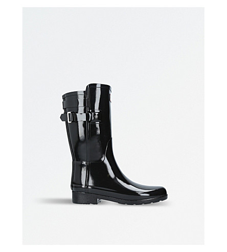 HUNTER Original Short Refined Gloss Back-strap wellington boots (Black