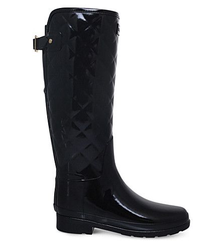 HUNTER Original Refined Gloss quilted wellington boots (Black