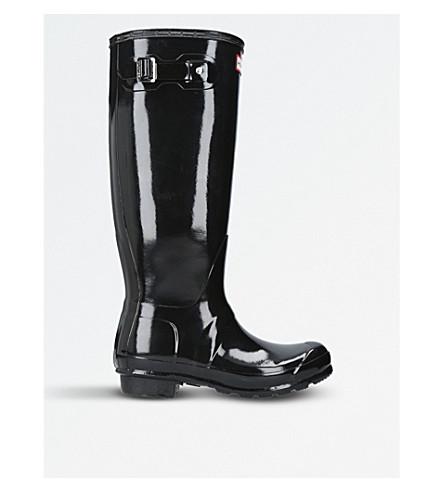 HUNTER Patent high-leg wellingtons (Black